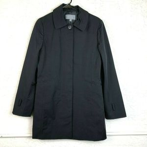 Ann Taylor Nylon Jacket M Black Button Up Trench